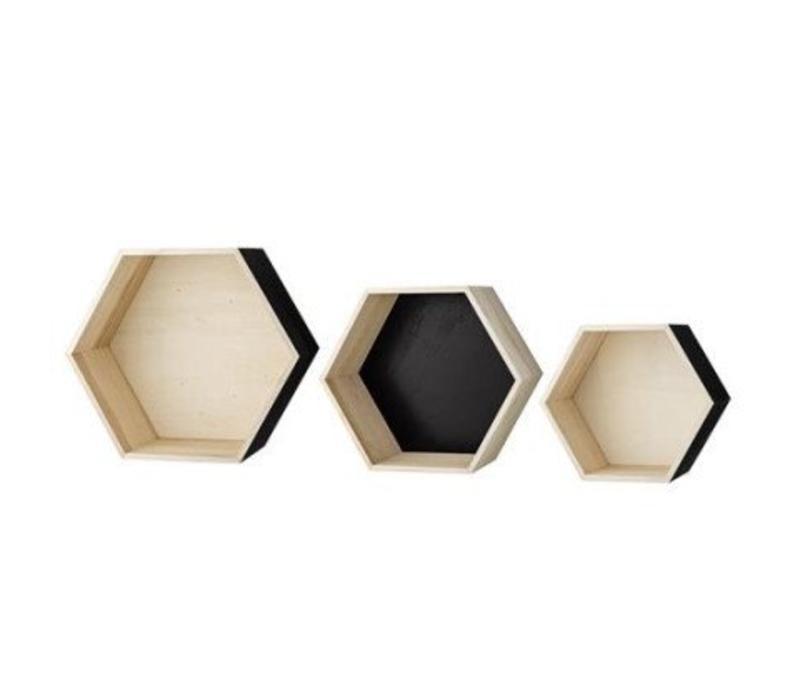 Opberg- en wandboxen zeshoekig natuur/zwart