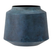 Vaas in blauw metaal Ø 17 x h 15 cm