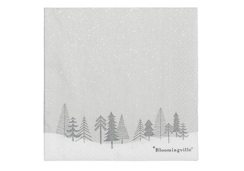 Bloomingville Grijze papieren servetten - kerstbomen