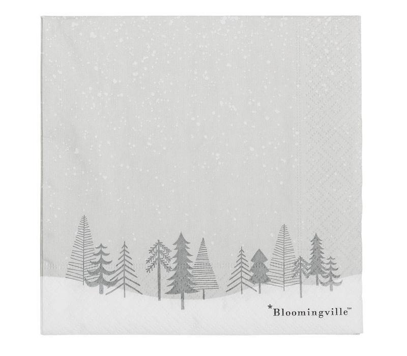 Grijze papieren servetten - kerstbomen
