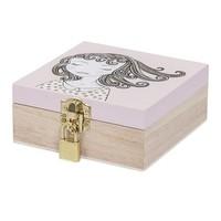 Houten juwelendoosje - roze