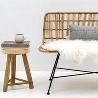 Sofa rotan naturel/gepoederlakt zwart metaal
