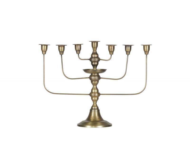 Totem kandelaar metaal antique brass