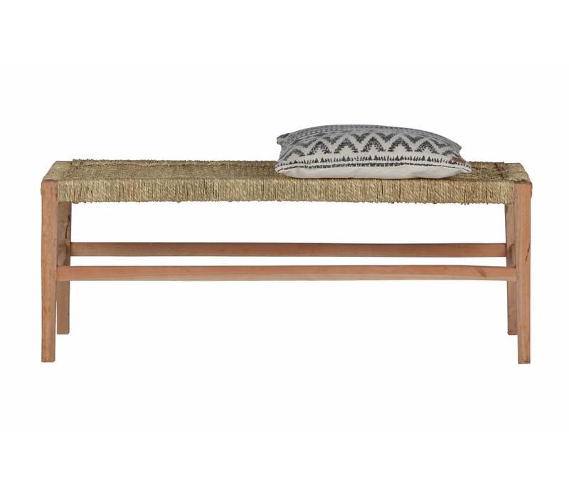Zen bankje hout/geweven touw naturel