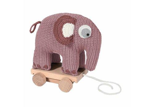 Sebra Gehaakt trekspeeltje olifant vintage roze