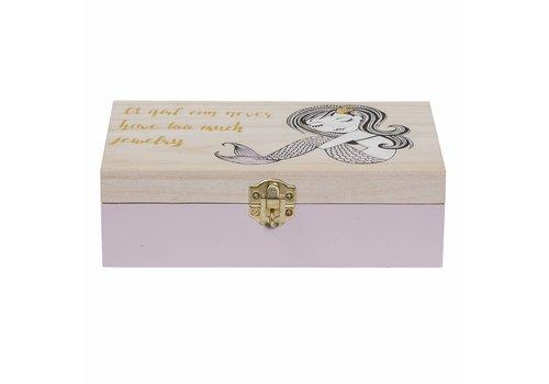 Bloomingville Houten juwelendoosje - roze - zeemeermin