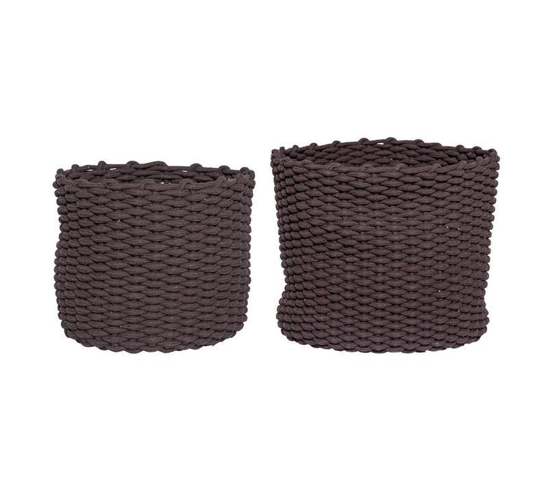Mand in bruine textiel - Set van 2