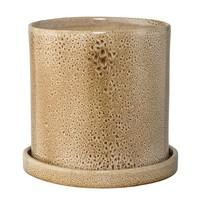 Bloempot met schotel - bruin - Ø20 x H19 cm