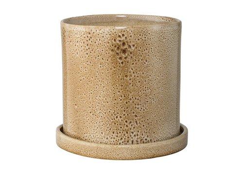 Bloomingville Bloempot met schotel - bruin - Ø20 x H19 cm
