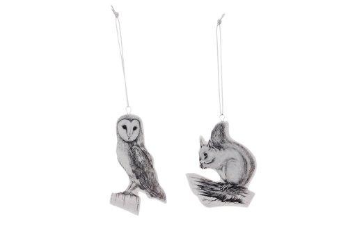 Bloomingville Hanger wit porselein uil en eekhoorn - set van 2