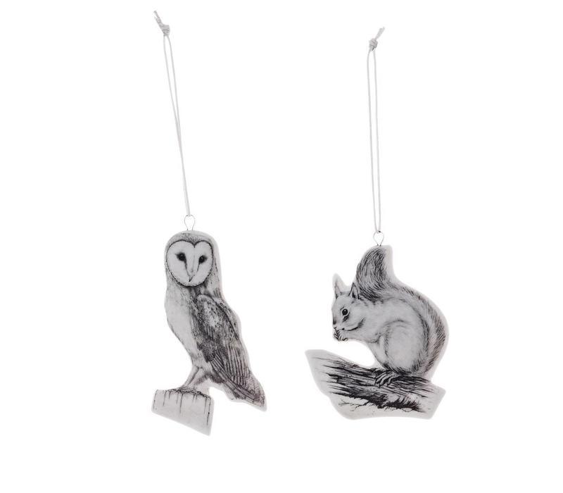 Hanger wit porselein uil en eekhoorn - set van 2