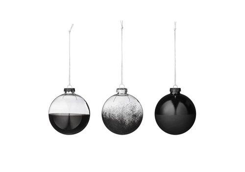 Bloomingville Kerstballen glas zwart - set van 3