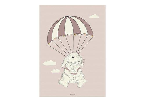 Bloomingville Roze poster konijn
