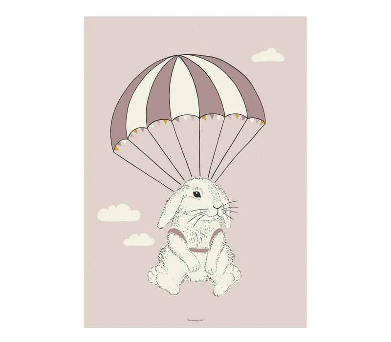 Roze poster konijn 50x70cm