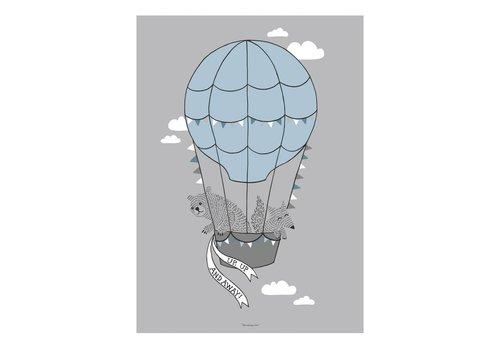 Bloomingville Grijze poster ballon 50x70cm