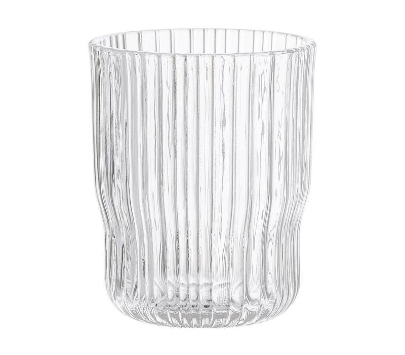 Drinkglas transparant geribbeld