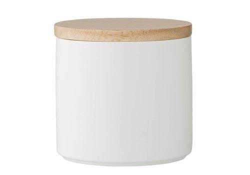 Bloomingville Voorraadpot wit met houten deksel 11xH12 cm