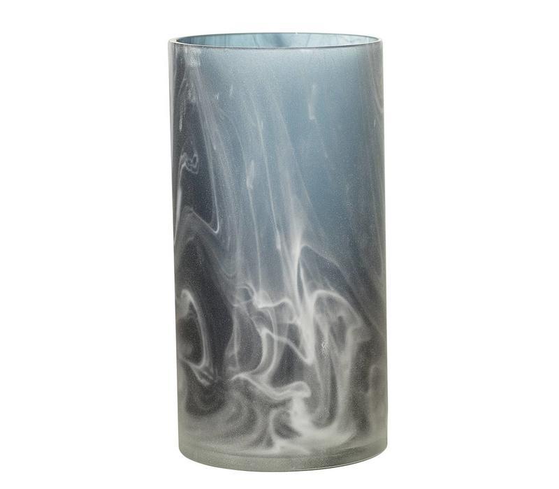 Blauwe vaas glas
