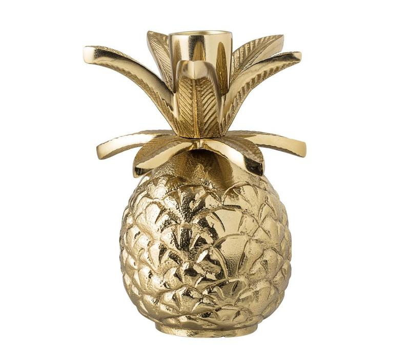Kaarshouder goud aluminium ananas