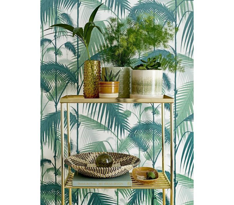 Bloempot met schaal groen keramiek