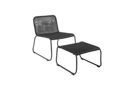 Bloomingville Loungestoel met voetbankje zwart metaal