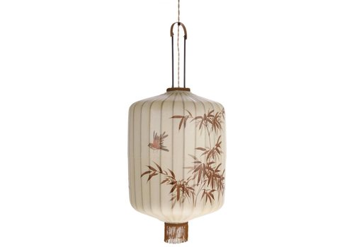 HK Living Traditionele stoffen lantaarn hanglamp crème in XL