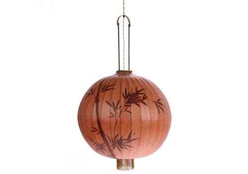 HK Living Traditionele stoffen lantaarn hanglamp in terra XL