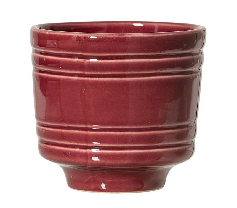 Bloempot in keramiek rood Ø10 x H9 cm
