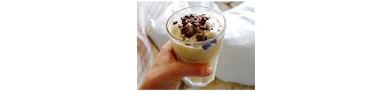 Banana caramel ice cream with chocolate topping