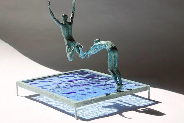 Bronzen sculpturen uit brons en glas