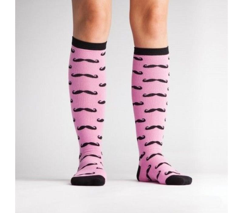 Moustache Pink Socks