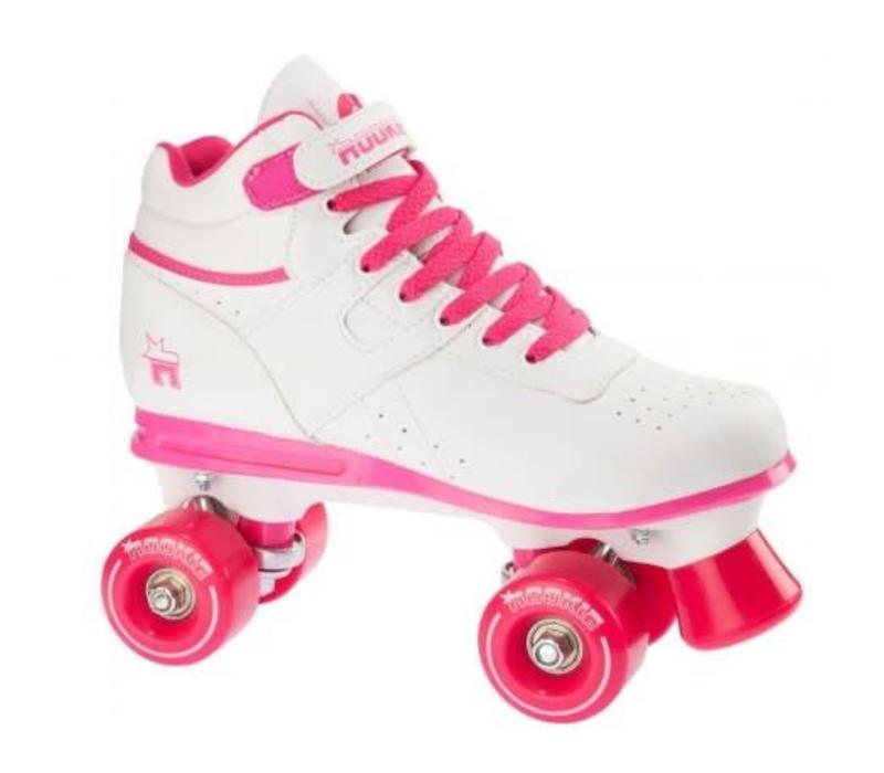 Rookie Odyssey White/Pink Roller Skates - Size 34.5