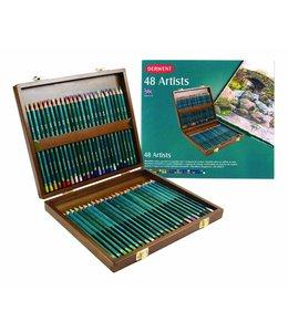 Derwent  Derwent Artists 48 kleurpotloden in een houten kist