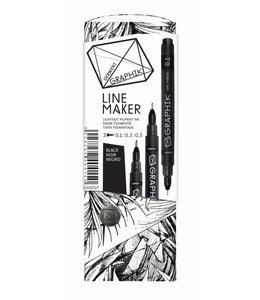 Derwent Graphik Derwent Graphik Line Maker Black (pak van 3)