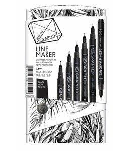 Derwent Graphik Derwent Graphik Line Maker Black (pak van 6)