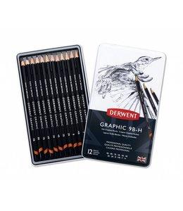 Derwent  Derwent Graphic Soft (Sketching) 12 Potloden 9B tot H in een blik
