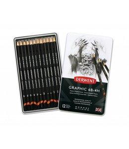 Derwent  Derwent Graphic Medium (Designer) 12 Potloden 6B tot 4H in een blik