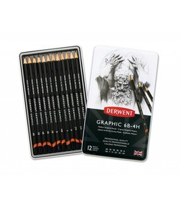 Derwent  Graphic Medium (Designer) 12 Bleistifte 6B bis 4H Tin