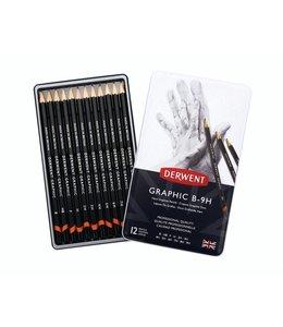 Derwent  Derwent Graphic Hard (Technisch) 12 potloden B tot 9H in een blik
