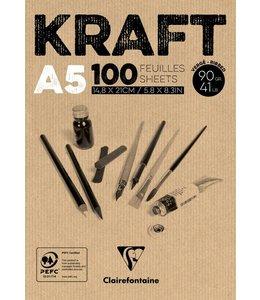 Clairfontaine Bruine kraftpapier gelijmde pads A5 90 gram