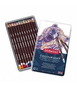 Derwent  Derwent Coloursoft 12 kleurpotloden in een blik
