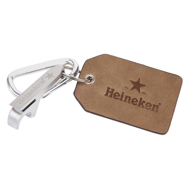 Heineken Heritage leather keyring with opener