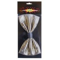 PartyXplosion - Strik - Streep - Zwart met goud - 14x7.5cm