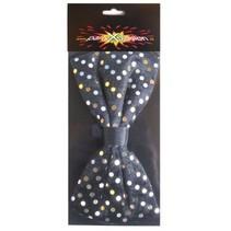 PartyXplosion - Strik - Stippen - Zwart met goud - 14x7.5cm