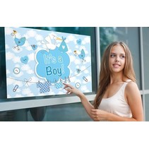 Folat - Raamvlag - It's a boy - Met zuignappen - 60x90cm