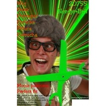 PartyXplosion - Pruik - Met bril - Grijs