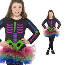 Smiffys - Kostuum - Skelet - Neon - mt.128