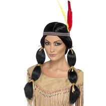 Smiffys - Pruik - Indiaanse - Met veren - Zwart