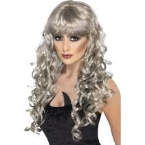 Smiffys - Pruik - Glamour - Lang - Met krul - Zilver