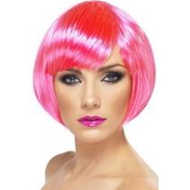 Smiffys - Pruik - Bobline - Neon roze
